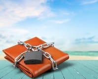 在皮革钱包,金钱保护的挂锁 图库摄影
