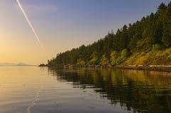 在盐春天海岛上的维苏威海湾全景, BC,加拿大 免版税图库摄影