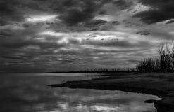 在盐水湖的冬天天空 库存图片