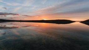 在盐水湖的日出 库存照片