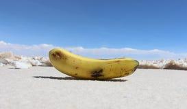 在盐湖背景的香蕉 01 06 2000年玻利维亚de distance女性湖层放置孤立稀薄在撒拉尔盐旅行家uyuni走的水 免版税库存照片