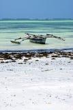 在盐水湖放松桑给巴尔非洲海岸线小船pirague 免版税图库摄影