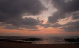 在盐水湖的黎明在Oualidia 免版税库存图片