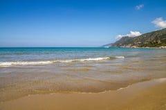 在盖帽Corse的Farinole海滩在可西嘉岛 库存图片