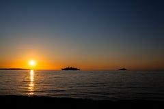 在盖帽d `安地比斯,法国的日出 库存图片