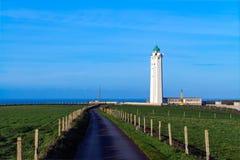 在盖帽dAntifer,塞纳河-海事,法国的灯塔 库存照片