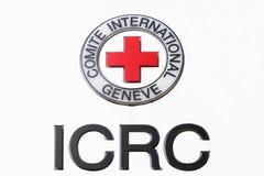 在盘区的红十字国际委员会商标 免版税图库摄影