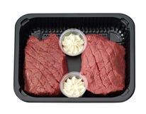 在盘子包装的牛排用黄油 库存照片