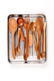 在盘子的厨房木器物 免版税库存照片