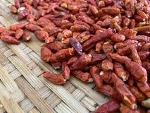 在盘子竹子的干红色辣椒 免版税库存图片