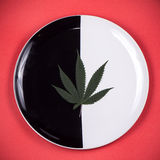 在盘的大麻叶子-医疗大麻灌输了浓缩的edibles 免版税库存照片