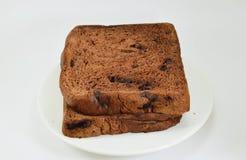 在盘的巧克力片面包 免版税库存照片