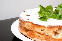 在盘的自创蛋糕在桌上 免版税库存照片
