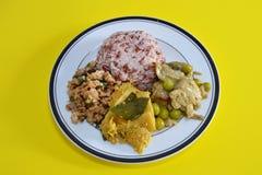 在盘的素食食物在黄色背景中 库存图片