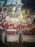 在盛大宫殿泰国的壁画ramayana 免版税库存图片