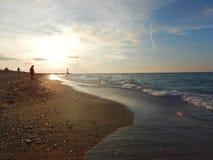 在盛大弯安大略加拿大的休伦湖海滩在冬天 库存图片