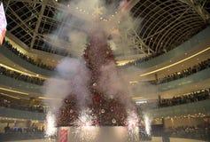 在盛大树照明设备庆祝技艺圆顶场所的Firworks 库存图片