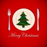在盛肉盘的圣诞树 图库摄影
