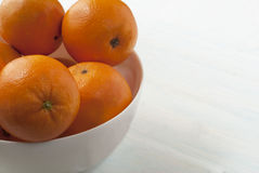 在盛肉盘的桔子 免版税库存图片