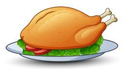 在盛肉盘的烤鸡 库存例证
