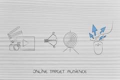 在目标与箭头和老鼠旁边的录影和照片内容与 向量例证