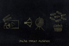 在目标旁边的录影和照片内容与箭头和购物的c 向量例证