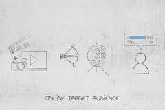 在目标旁边的录影和照片内容与箭头和追随者w 库存例证
