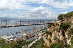在直布罗陀上部岩石自然保护的温莎桥梁 库存照片