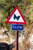在直布罗陀的缓慢的标志 库存图片