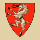 在盾的纹章学野兽 免版税库存图片