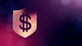 在盾的美元的符号 光亮微粒财务背景  3D与景深的圈动画, bokeh和 股票视频
