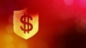 在盾的美元的符号 光亮微粒财务背景  3D与景深的圈动画, bokeh和 影视素材