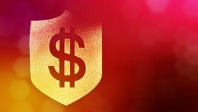 在盾的美元的符号 光亮微粒财务背景  3D与景深的圈动画, bokeh和 库存例证