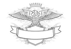 在盾的老鹰有横幅象征的 图库摄影