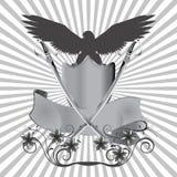 在盾的背景老鹰有剑和花的 免版税库存照片