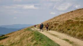在看山的山顶部的夫妇游人 远足者夫妇旅行享受生活风景自然风景 夏天 股票视频