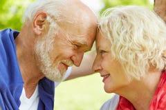 在看彼此的爱的资深夫妇 免版税库存照片