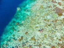 在看法珊瑚礁热带加勒比海,土耳其玉色水下的空中上面 印度尼西亚摩鹿加群岛群岛,班达群岛,Pulau 库存图片