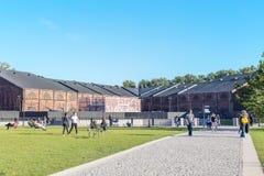 在看法里面在重建以后的新的荷兰海岛在圣彼德堡 免版税库存照片