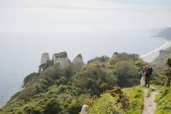 在看海景的峭壁的夫妇 库存图片
