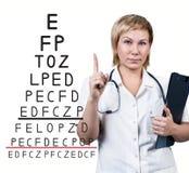 在眼力测试图附近的女性医生 免版税库存图片