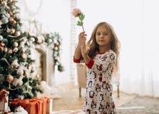 在睡衣打扮的迷人的女孩拿着在有很多的一朵花有新年的树的轻的舒适室 图库摄影