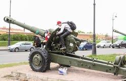 在短程高射炮的十几岁 免版税库存照片