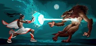 在矮子和狼人之间的战斗的场面 图库摄影