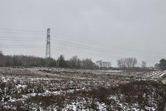 在石南花荒野的冬天雪,在距离的光秃的树和定向塔/电导线 免版税库存图片