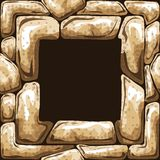 在石无缝的样式的方形的框架 图库摄影