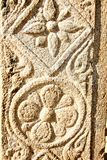 在石柱子的Kalamkari印刷品 库存照片