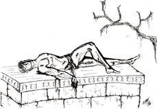 在石棺死的一个年轻希腊战士 向量例证