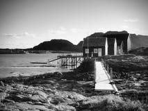 在石海岛上的挪威渔村 安静的海湾的走路的红色白色房子 光滑水平面反映 图库摄影