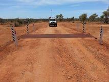 在石渣路的牛栅格在内地澳大利亚人 库存图片